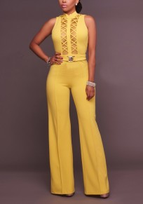 Yellow Patchwork Grenadine Cut Out Backless Party Wide Leg Long Jumpsuit