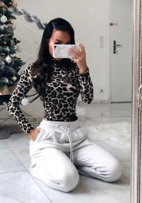 Leopard Print Elastic Waist Fashion Polyester Short Jumpsuit