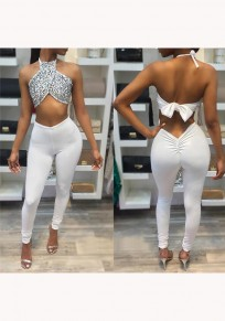 White Patchwork Sequin Tie Back 2-in-1 Elastic Waist Long Jumpsuit