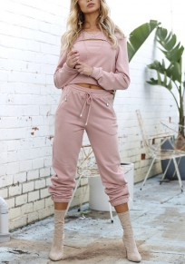 Pink Midriff Cut Out 2-in-1 Drawstring Waist Casual Long Jumpsuit