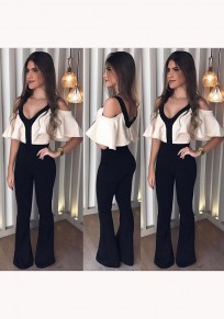 Black Patchwork Ruffle Cut Out Sleeve Deep V-neck Sweet Cute Long Jumpsuit