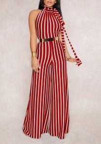 Red-White Striped Belt Backless Halter Neck Party Wide Leg Long Jumpsuit