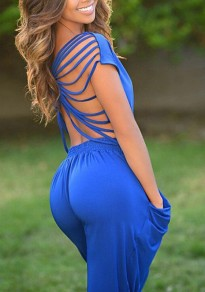 Blue Cut Out Pleated Pockets Bandage Backless Clubwear Party Casual Long Jumpsuit