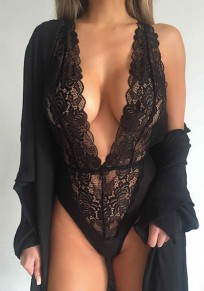 Black Lace Plunging Neckline Fashion Short Jumpsuit