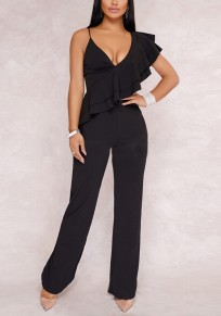 Black Ruffle Spaghetti Strap Backless One Piece Party Elegance Long Jumpsuit