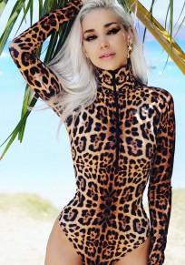 Combinaison short fermeture éclair imprimé léopard bodycon barboteuse à mode marron