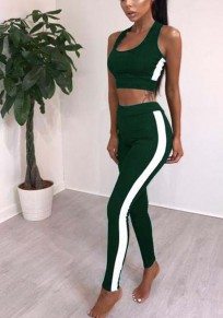 Green Patchwork Crop 2-in-1 Elastic Waist Sports Long Jumpsuit