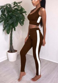Brown Patchwork Crop 2-in-1 Elastic Waist Sports Long Jumpsuit