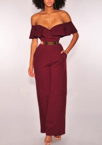Burgundy Ruffle Pockets Off Shoulder Wide Leg Formal V-neck Party Elegant Long Jumpsuit