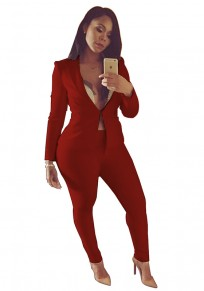 Wine Red 2-in-1 Elastic Waist Casual Long Jumpsuit