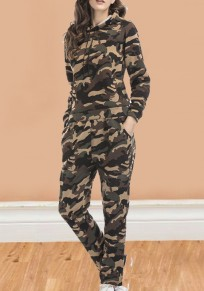 Army Green Camouflage 2-in-1 Elastic Waist High Waisted Sports Casual Long Jumpsuit
