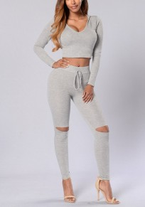 Grey Midriff 2-in-1 Drawstring Waist Casual Long Jumpsuit