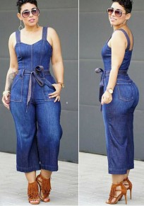 Denim Blue Sashes Shoulder Girdle Wide Leg Long Jumpsuit