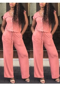 Pink Drawstring Buttons Pockets Wide Leg Short Sleeve Going out Casual Long Jumpsuit