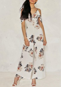 White Floral Cut Out Wide Leg Beach Off Shoulder Spaghetti Strap Long Jumpsuit