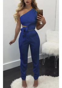 Blue Sashes Bowknot Oblique Shoulder Backless Two Piece Sleeveless Bodycon Long Jumpsuit