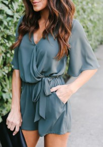 Green Sashes Pockets Pleated V-neck Going out Casual Short Jumpsuit