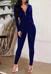 Sapphire Blue Patchwork Striped V-neck Skinny Clubwear Fashion Jumpsuit