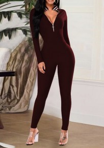 Burgundy Patchwork Striped V-neck Skinny Clubwear Fashion Jumpsuit