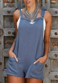 Blue Pockets Shoulder-Strap Lace-up Going out Casual Shorts Overall Pants