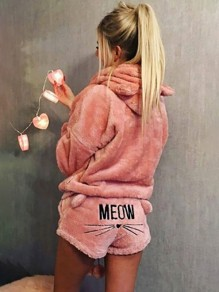 "Pink ""Meom"" Cat Print Pockets Two Piece Hooded Teedy Cute Sweet Short Jumpsuit"