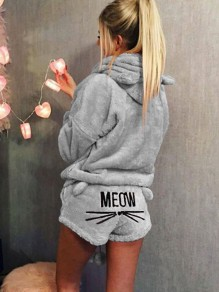 "Grey ""Meom"" Cat Print Pockets Two Piece Hooded Teedy Cute Sweet Short Jumpsuit"