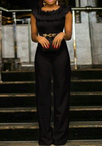 Black Cascading Ruffle Multifunction Formal High Waisted Wide Leg Elegant Party Long Jumpsuit