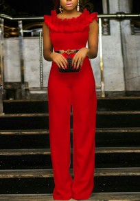 Red Cascading Ruffle Multifunction Formal High Waisted Wide Leg Elegant Party Long Jumpsuit