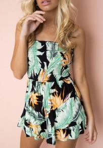 Green Floral Ruffle Bandeau Elastic Waist Sweet Short Jumpsuit