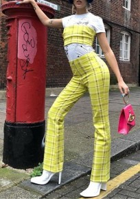 Yellow Plaid Two Piece Off Shoulder Backless Going out Wide Leg Long Jumpsuit