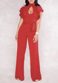 Red Cut Out Ruffle Sashes Work Up Elegant Party Wide Leg Long Jumpsuit
