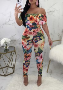 Pink Floral Print Off Shoulder Ruffle Elastic Waist Sweet Long Jumpsuit