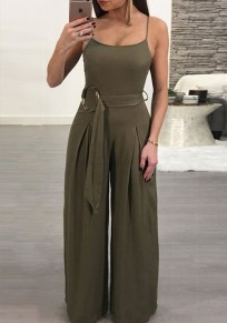 Army Green Condole Belt Sashes Casual Long Jumpsuit