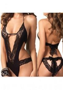 Black Patchwork Cut Out Tie Back Lace Bow Drawstring Waist Fashion Jumpsuit