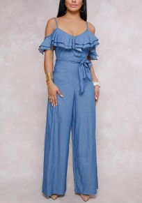 Blue Cut Out Ruffle Sashes Spaghetti Strap Backless Casual Wide Leg Long Jumpsuit