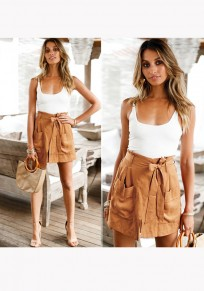 Khaki Pockets Cut Out 2-in-1 Drawstring Waist Casual Short Jumpsuit