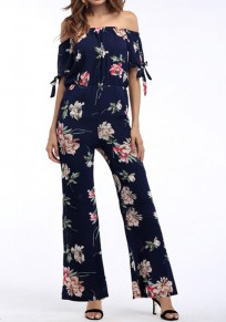 Blue Floral Ribbons Ruffle Elastic Waist Fashion Long Jumpsuit