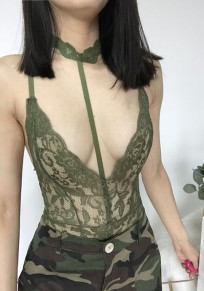 Army Green Floral Lace Cut Out Backless Fashion Short Jumpsuit