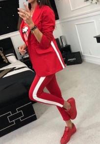 Rot gestreifte Knöpfe 2-in-1 elastische Taille Mode lange Overall
