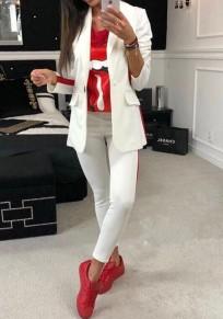 Weiße gestreifte Knöpfe 2-in-1 elastische Taille Mode lange Overall
