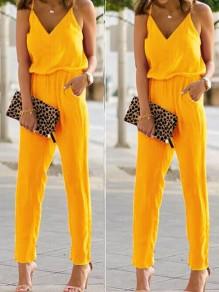 Gelb Taschen Spaghettiträger V-Ausschnitt Rückenfreies Hohe Taille Elegantes Lange Overall Damen Jumpsuit Günstig
