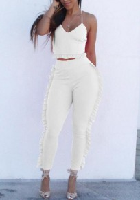 White Ruffle Spaghetti Strap Backless Peplum Two Piece Elegant Wedding Party Long Jumpsuit