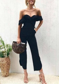 Black Ruffle Off Shoulder Backless Slit One Piece High Waisted Party Long Jumpsuit
