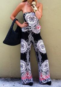 Black Floral Bandeau Elastic Waist Fashion Long Jumpsuit