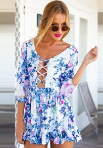 Multicolor Floral Cut Out Drawstring Casual Short Jumpsuit