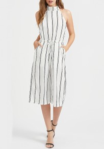 White Striped Pockets Tie Back Drawstring Waist Seven's Jumpsuit