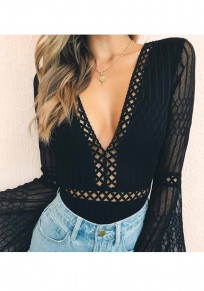 Black Patchwork Cut Out Grenadine V-neck Fashion Short Jumpsuit