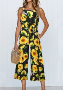 Yellow Sunflower Pockets Sashes One Piece Bohemian Wide Leg Seven's Tropical Jumpsuit