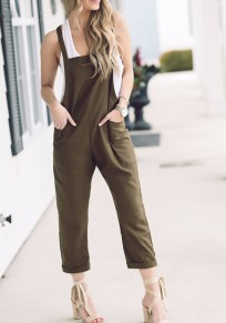 Green Pockets Shoulder-Strap One Piece Casual Going out Overall Pants