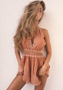 Pink Patchwork Cut Out Lace Tie Back Zipper V-neck Fashion Short Jumpsuit